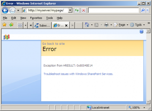 Exception from HRESULT 0x80040E14